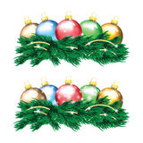 Set of colorful Christmas balls and Christmas tree Stock Photography