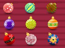 Set of Colorful Christmas balls. Collection of merry Christmas a Royalty Free Stock Photos