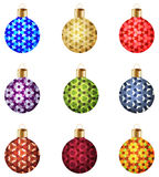 Set of 9 colorful Christmas balls with geometric decorative ornament. Set of 9 colorful Christmas balls with abstract geometric decorative ornament stock illustration