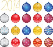Set of colorful Christmas balls, illustration. Set of colorful Christmas balls on white background, illustration Stock Image