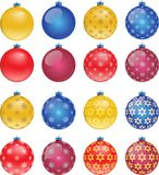 Set of colorful Christmas balls, illustration. Set of colorful Christmas balls on white background, illustration Royalty Free Stock Photo