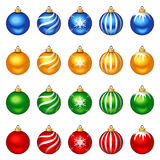 Set of colorful Christmas balls with patterns. Vector illustration. Stock Photos