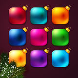 Set of colorful Christmas balls stylized like mobile app. Stock Image