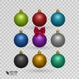 Set of colorful christmas balls on transparent background vector illustration Royalty Free Stock Photo