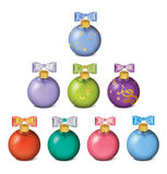 Set of colorful christmas balls  on white Royalty Free Stock Photo