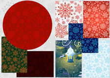 Set colorful Christmas banners. With snowflakes, vector Royalty Free Stock Image