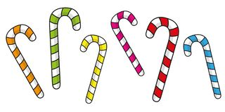 Set of colorful christmas candy canes royalty free illustration