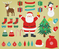 Set of colorful christmas characters and decorations. Vector Stock Photography