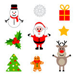 Set of colorful christmas decorations. Stock Image