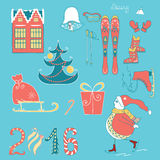 Set of colorful christmas elements. Set of colorful christmas characters and decorations. Hand drawn illustration made on doodle Royalty Free Stock Photo