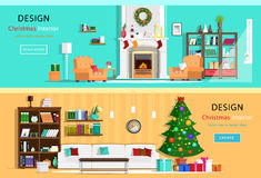 Set of colorful Christmas interior design house rooms with furniture icons. Christmas wreath, Christmas tree, fireplace. Flat styl Stock Photo
