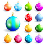 Set of colorful christmas and new year balls Stock Photography