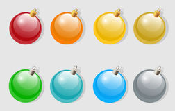 Set of colorful christmas or new year baubles Royalty Free Stock Image