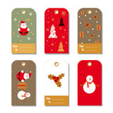 Set of colorful Christmas and New Year gift tags. Royalty Free Stock Photo