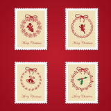 Set of colorful Christmas Postage stamps. Vector illustration Stock Image