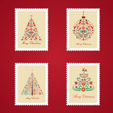 Set of colorful Christmas Postage stamps. Vector illustration Stock Images