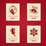 Set of colorful Christmas Postage stamps. Vector illustration Royalty Free Stock Photo