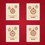 Set of colorful Christmas Postage stamps. Vector illustration Royalty Free Stock Photos