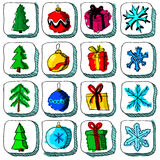 Set of colorful Christmas sketch icons with Stock Images