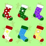 Set of Colorful Christmas Socks. Different Sockings in Cartoon Flat Style. Vector illustration for Your Design. stock illustration