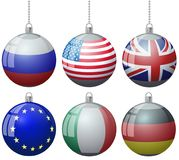 Set of colorful Christmas tree vector ornament balls with USA Russia Great Britain flags with ball chain ribbon. US England Europe. An Union Italy Germany vector Stock Images