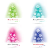 Set of 4 colorful Christmas trees Stock Images