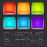 Set of Colorful Chrome Buttons Royalty Free Stock Images
