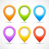 Set of colorful circle pointers Stock Photo