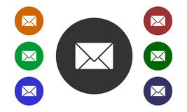 Set of colorful circular icons mail on websites and forums and in e-shop button and envelope image isolated on white background. Vector Stock Photo