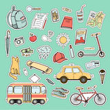 Set of colorful city life patches Stock Image