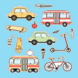 Set of colorful city life patches, vector stickers Stock Images