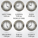 Set of colorful clock icon,world time concept. Stock Images