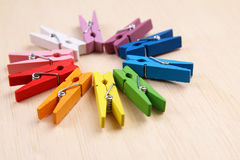Set of colorful clothes pegs Stock Photo