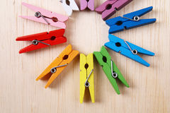 Set of colorful clothes pegs - Series 3 Royalty Free Stock Image