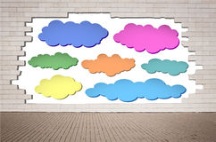 Set of colorful clouds, speech bubbles on cracked Royalty Free Stock Images