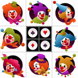 Set of colorful clown portraits Stock Images