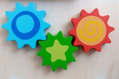 Set of colorful cog gears royalty free stock image