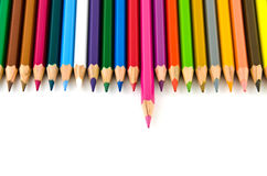 Set of colorful color pencil lined in row. On white background Stock Image