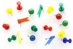 Set of colorful color push pins top view isolated on white backg Stock Photography