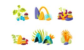 Set of compositions with fantasy sea plants, corals and stones. Underwater life. Flat vector elements for mobile game royalty free illustration