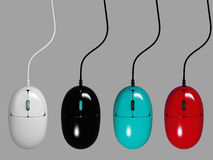 Set of colorful computer mouses. 3d Stock Photos
