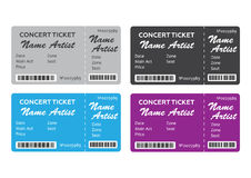 Set of Colorful Concert Tickets Royalty Free Stock Photos