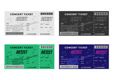 Set of Colorful Concert Tickets with Guitar and Royalty Free Stock Images
