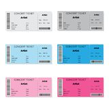 Set of Colorful Concert Tickets Stock Photo