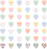 Set of Colorful Conversation Hearts, Vector Royalty Free Stock Images
