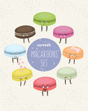 Set of colorful cookies macaroons. Cute cupcake character. Vector illustration.  Stock Images