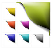 Set of colorful corner ribbons. On white stock illustration