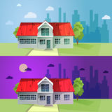 Set of colorful cottage houses. Flat buildings. Vector illustrat Stock Photos