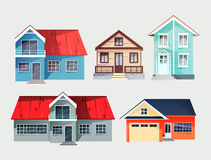 Set of colorful cottage houses. Flat buildings. Vector illustrat Stock Images