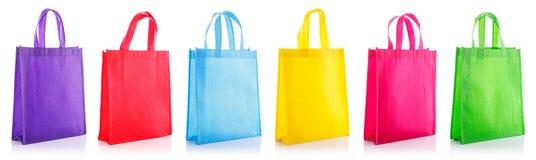 Set colorful cotton bag. Studio shot isolated on white Royalty Free Stock Image